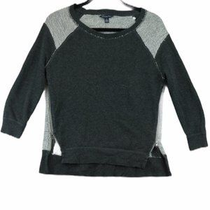 American Eagle Grey Crew Neck Sweater Side Zippers